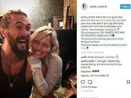 American actress Emilia Clarke and her Game Of Thrones co-star Jason Mamoa. Picture: Instagram @emilia_clarke