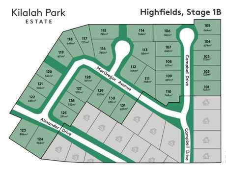 The lot plan for the new expansion of Kilalah Park Estate, Highfields.