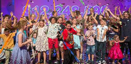 Children celebrate the $12m raised during the 2016 Channel Nine Telethon that supports the Children's Hospital Foundation.