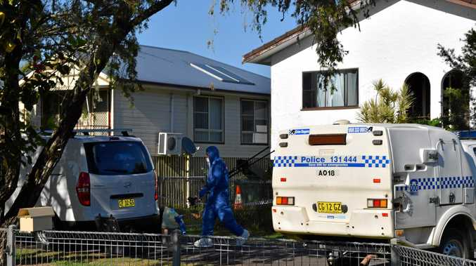 Police at the scene of a fatal stabbing in Barrow Lane in Lismore.