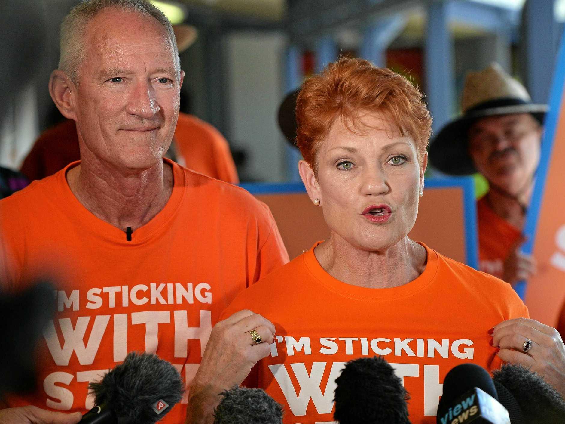 SPENDING BIG: One Nation QLD leader Steve Dickson and Senator Pauline Hanson make big election promises.