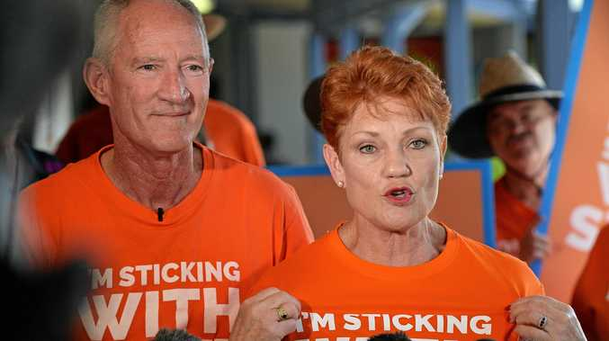 SPENDING BIG: One Nation QLD leader Steve Dickson and Senator Pauline Hanson make big election promises.