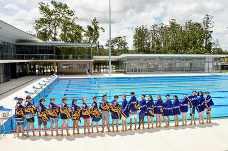 These Grammar students are the first to jump into the pool in the newly built aquatic centre.