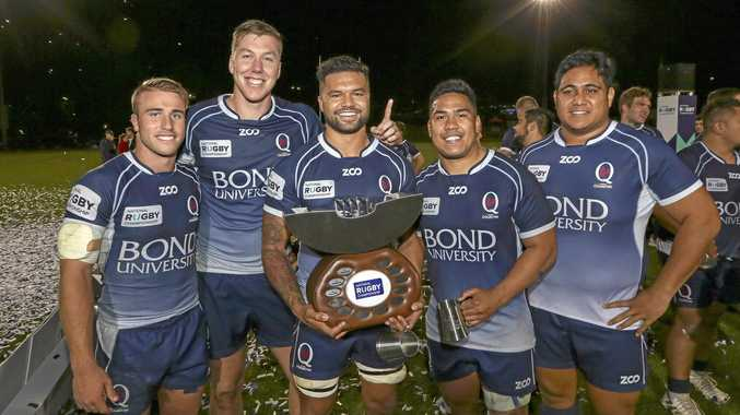 Hamish Stewart with teammates Angus Blyth, Tai Ford, Alec Mafi, Gav Luka hold up the winning shield after defeating Canberra Vikings in the National Rugby Championships.