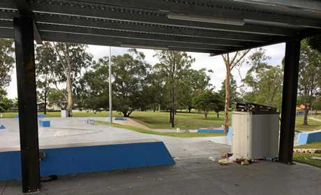 Maryborough's Skate Park on Monday morning was trashed with litter spilling out of one of the two bins and surrounding the facility.