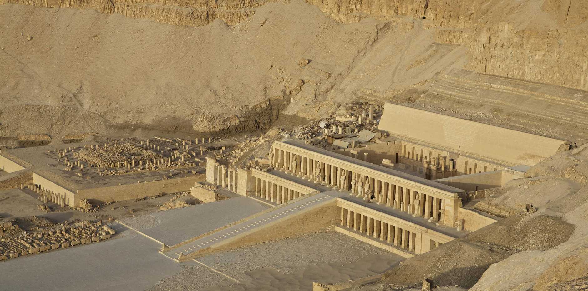View of the Temple of Queen Hatshepsut in Deir el-bahari in the morning sun.
