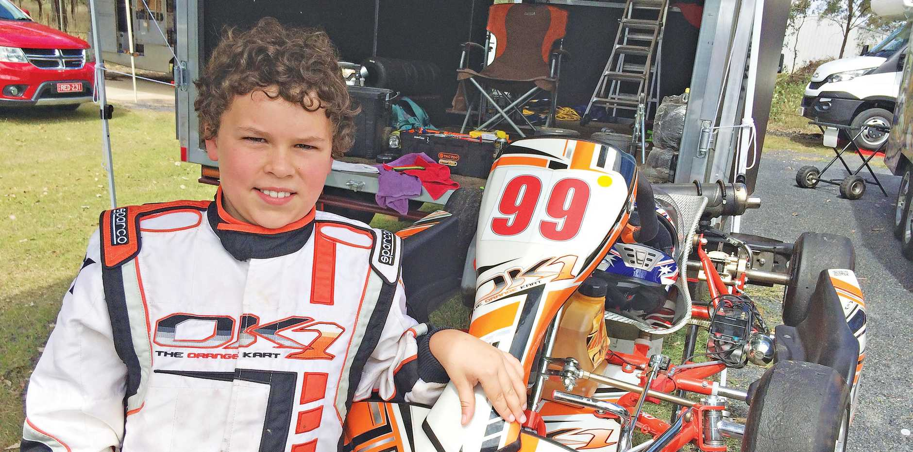 WELL DONE: Spring Creek driver Riley Newing after setting some personal best lap times at Sandy Creek Raceway.