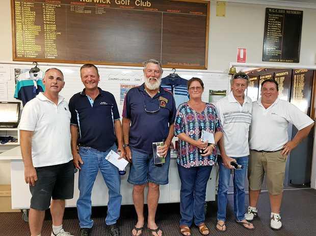 Paul Swift (NAB), NAB Mercantile Day winners Rod Kilner, Charlie, Kath and Bill Morrison, and Terry Duggan (NAB).