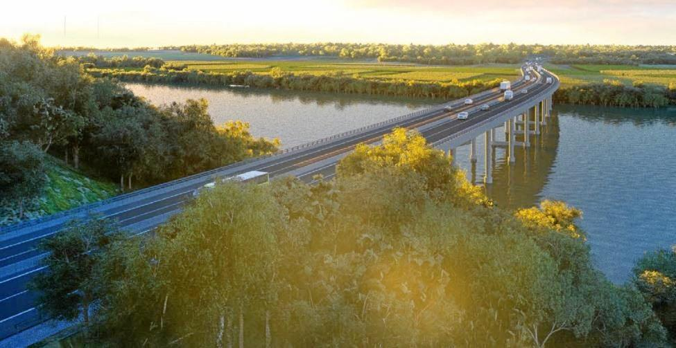 An artist's impression of the new bridge over the Richmond River at Broadwater.