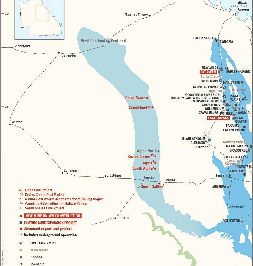 The nine mooted sites for coal exploration in the Galilee Basin.