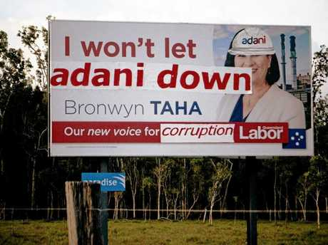 Queensland Labor candidate Bronwyn Taha's defaced billboard on Shute Harbour Rd.