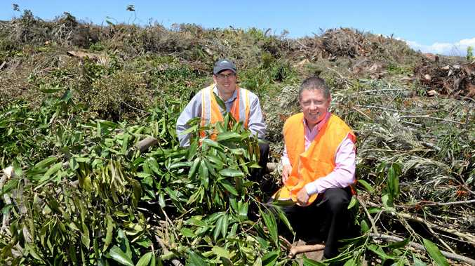 STORM DAMAGE: Bundaberg Regional Council waste coordinator David Zorzan and Cr Scott Rowleson with the massive pile of green waste dumped at Bundaberg tip after storms last week.