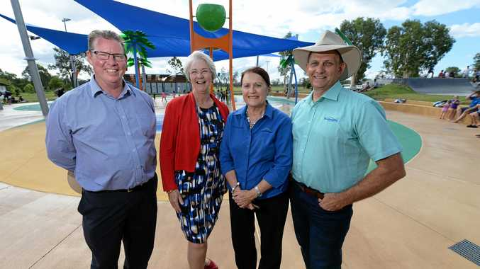 L-R Barry O'Rourke, Margaret Strelow, Ellen Smith and Tony Williams at the official opening of the Cedric Archer water park in Gracemere.
