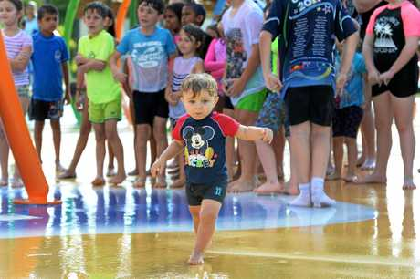 Cruz Yeomans (22 mths) at the official opening of the Cedric Archer water park in Gracemere.