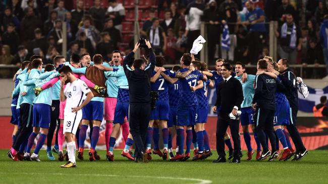 Croatia's team celebrates after winning the World Cup 2018 play-off.