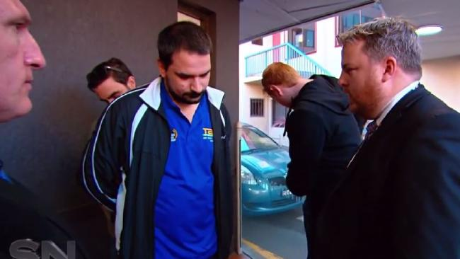 The married father after being arrested by police. Picture: Channel 7