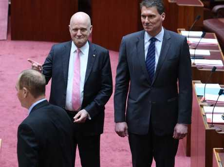 Senator Fraser Anning was escorted into he chamber by senators Benardi and Leyonhjelm as One Nation Leader Pauline Hanson was a no-show for the ceremony. Picture Gary Ramage