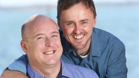 Geelong couple Jonathan Condron and Aden Hemmerling will be hoping for a Yes result. Picture: Mike Dugdale