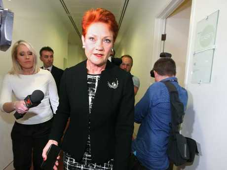 Pauline Hanson was unusually absent when her new One Nation senator Fraser Anning was sworn in to replace Malcolm Roberts. Picture Kym Smith