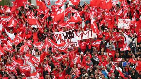 A sea of red was out in force to support Tonga against New Zealand at Waikato Stadium