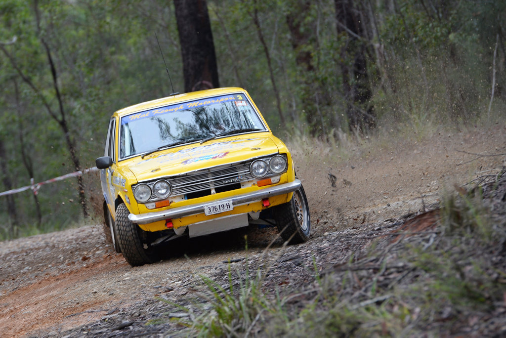 Mal Keough and Pip Bennett will have their Datsun 1600 roaring around the forest roads this weekend in the Kennards Hire Rally Australia.