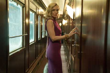Michelle Pfeiffer in a scene from the movie Murder on the Orient Express.