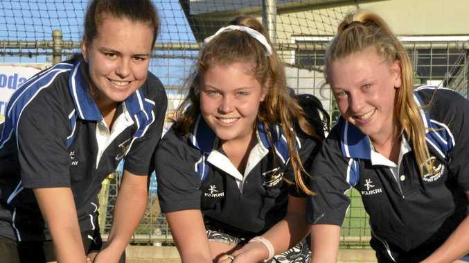 Toowoomba U15 players Tess Henare, Mekensie Hermann and Jessica Wallace.