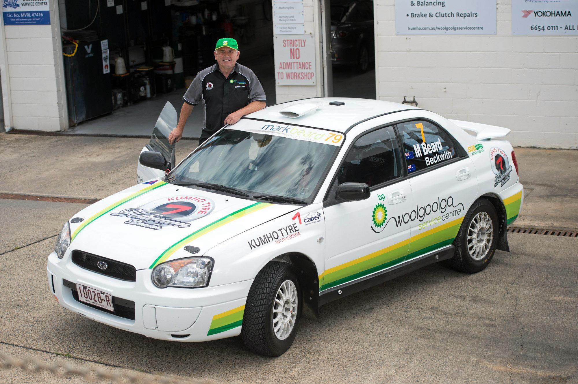 READY TO GO: Woolgoolga rally driver Mark Beard and his Subaru RS Impreza along with co-driver Scott Beckwith will feature in the Kennards Hire Rally Australia.