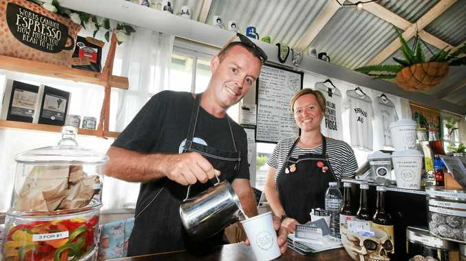 COFFEE ADDICTS: Six Things owners Campbell and Jane Fletcher enjoying the quirkier side of cafe lifes.