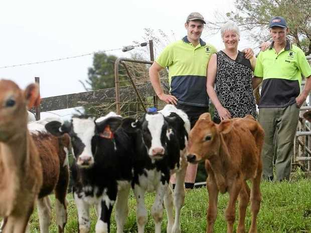 Dairy farmer Gordon Lockett with his wife Marg and son Ben at their farm in Neerim North, Gippsland.