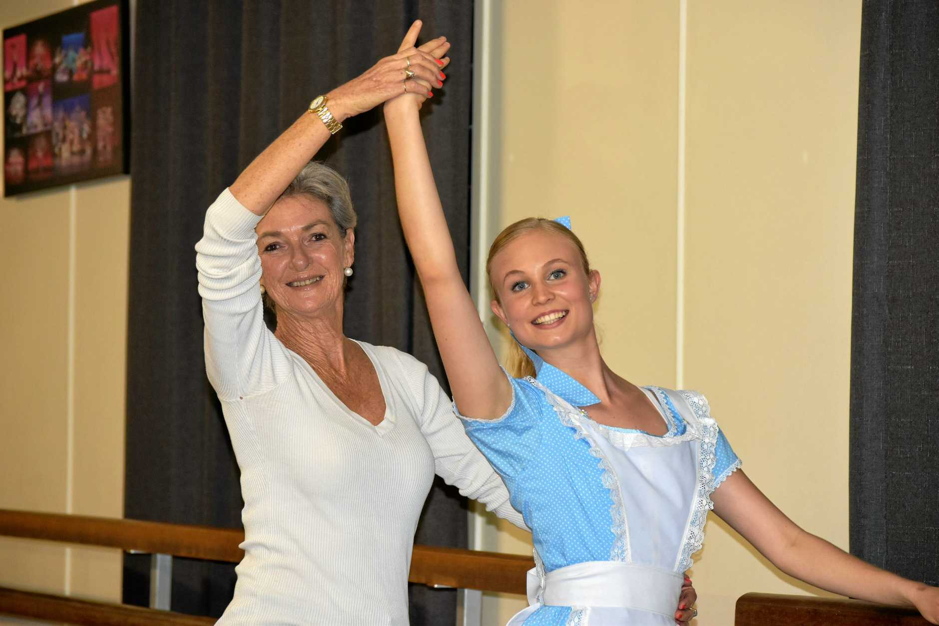SHOW TIME: Lilly Strack aka Alice and dance teacher Cleone McRoberts at rehearsals for the Cleone McRoberts Academy of Dance annual production at the Brolga Theatre.