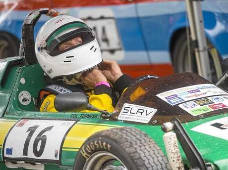 Alan Don helmets up in his 1978 Nimbus Formula Vee open wheel racer.