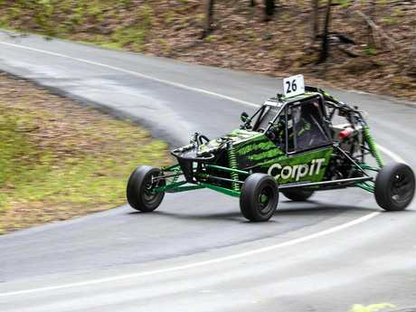 Darren Rath in his 2012 Edge Buggy Barracuda loses it at turn one, spinning onto the grass but fortunately not hitting anything at the Noosa Hill Climb.