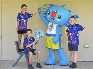 Mascot Borobi pops in to visit Toowoomba school