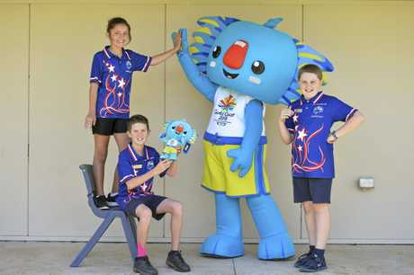Excited to meet Gold Coast Commonwealth Games mascot Borobi are (from left) Brianna Riley, Sean Lindsay-Holley and Mitchell Rowbotham of Harristown State School.