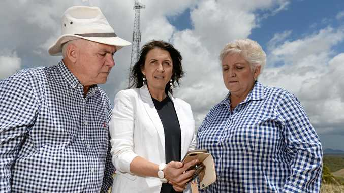 GOOD CALL: Livingstone Shire Mayor Bill Ludwig (left), Telstra North Queensland area manager Rachel Cliffe and Member for Capricornia Michelle Landry check out the coverage at the new mobile phone tower at Mt Charmers.