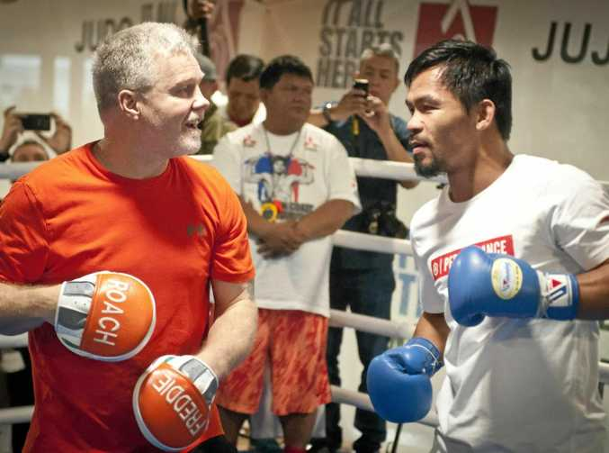 TRICKY: Manny Pacquiao spars with trainer Freddie Roach before the Jeff Horn clash in Brisbane.