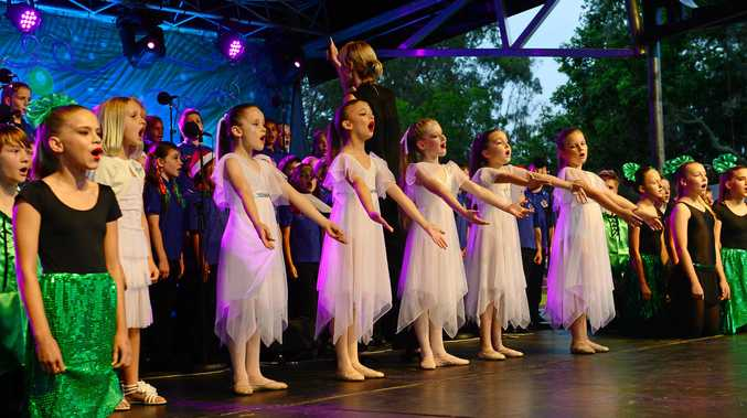 Brassall Christmas in the Park. Brassall State School choir singers and dancers performing. Photo: David Nielsen / The Queensland Times