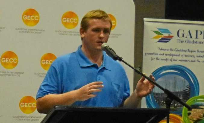 LNP candidate for Gladstone Chay Conaglen speaking at the Meet The Candidates night.