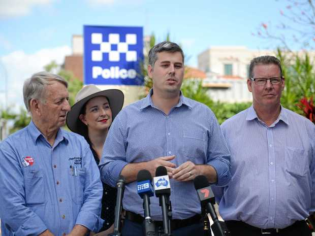 MORE COPS: Member for Mirani Jim Pearce, Member for Keppel Brittany Lauga, Minister for Police Mark Ryan and Labor candidate for Rockhampton Barry O'Rourke make a counter-terrorism announcement.