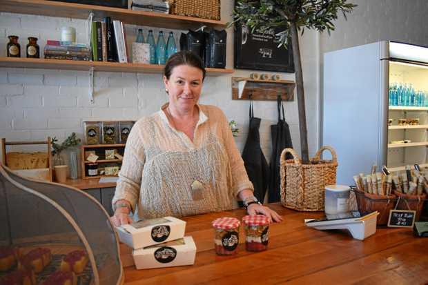 Natalie Mueller at her new café, The Little Olive on William St, Rockhampton.