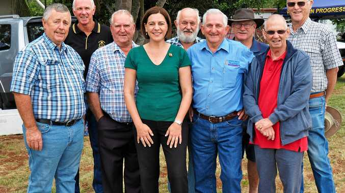 LNP member for Nanango Deb Frecklington with blokes from the Yarraman Men's Shed. Kerry Wyvill is pictured to her right.