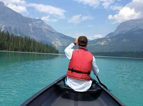 Kieran Bourke kayaks on the Emerald Lake in British Columbia in Canada during his five-month working holiday.