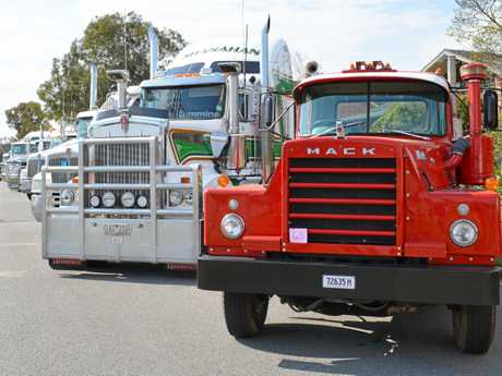 The old and the new- a Kenworth T909 and a Flintstone Mack.