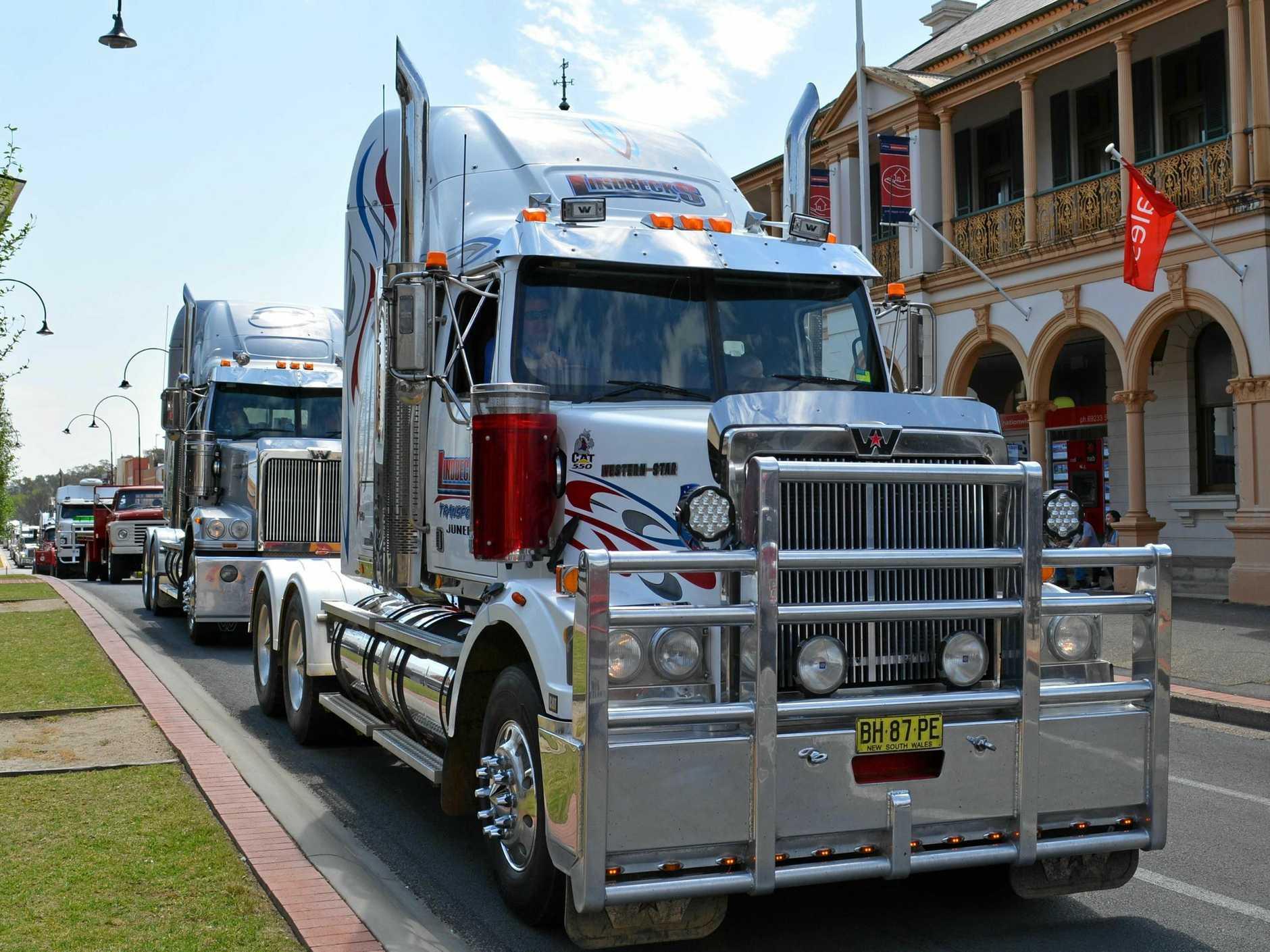 The trucks roll down Fitzmaurice Street.