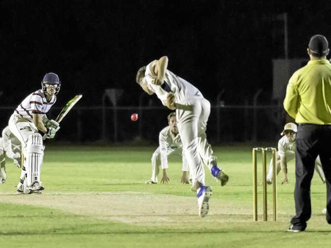Rockhampton Grammar batsman Leighton Milburn faces up against the TSS attack.