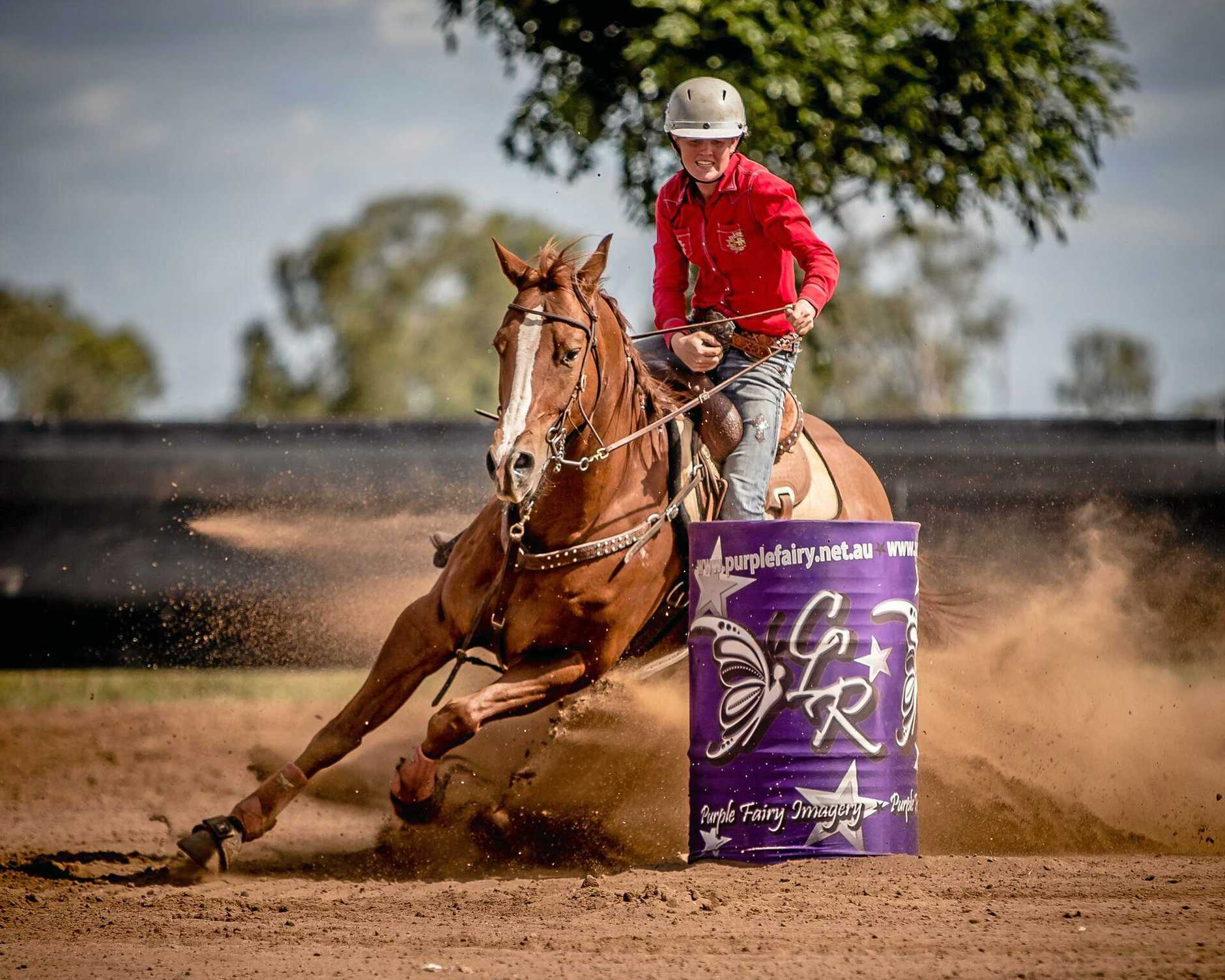 TOP FORM: Ellysa Kenny is a barrel racing and breakaway roping competitor who was this year named all round cowgirl in the APRA national finals.