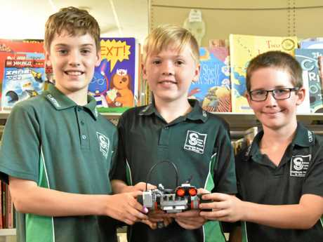 Gladstone Robotics Competition - Clinton State School grade 4 students: Matthew McGregor, Nicholas Brooker and Joshua Bishop.