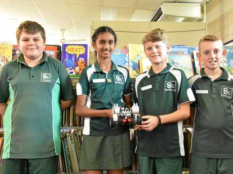 Gladstone Robotics Competition - Clinton State School grade 6 students (L to R): Jacob Smith, Gayathiri Sekar, Bailey Stewart and Caleb Mills.