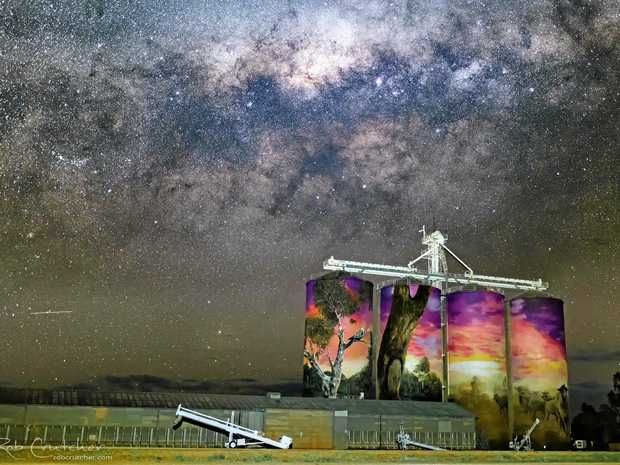 The Milky Way behind the painted Thallon Silos, taken by Rob Crutcher.